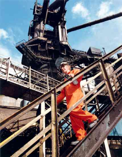 Blast Furnace and Worker © Owens Ind & Comm Photographs