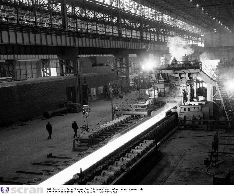 Lengths of steel pass through the rougher at the Strip Mill © The Scotsman